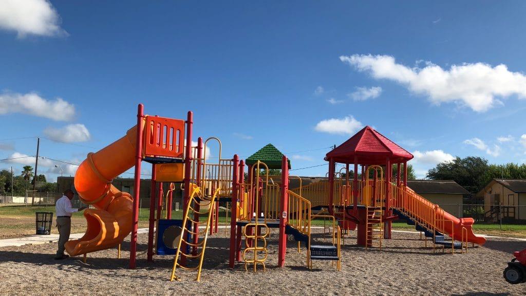 Post renovation - added new decks, railings, slides, & roofs